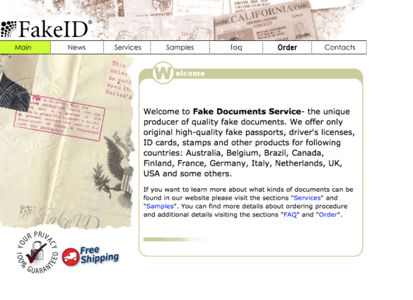 Fake ID found on deep web