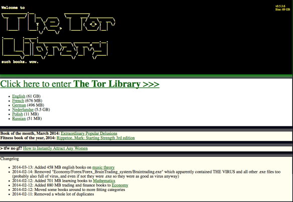 Banned books in tor library on deep web