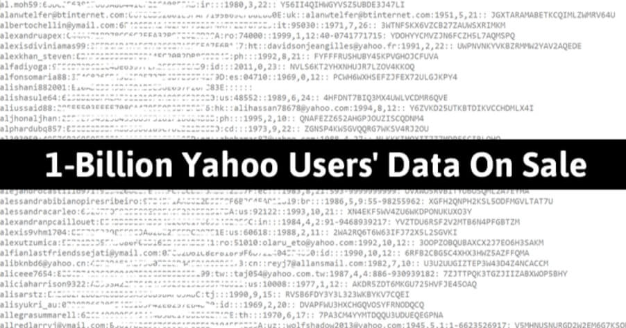 More than 1 Billion Yahoo Accounts are Hacked – Available for Sale on Dark Web for $300,000