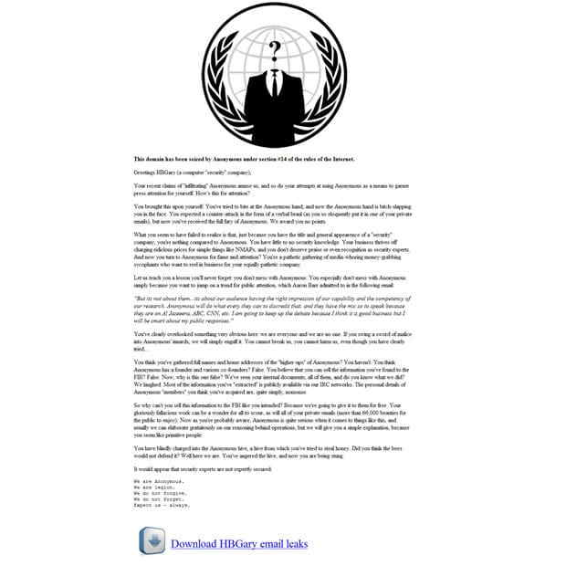 Anonymous Takes Down HBGary Barr